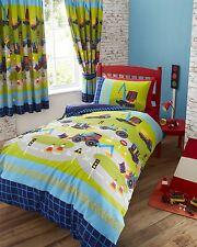 Digger Trucks Green Kids Boys Reversible Single Duvet Quilt Cover Bedding Set