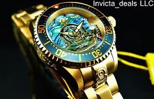 Invicta Women 38mm Grand Diver Green Abalone Dial Automatic 18K Gold IP SS Watch