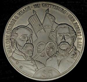 2000 AMERICAN CIVIL WAR 1863 GETTYSBURG REPUBLIC OF LIBERIA $5 DOLLARS COIN