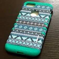 iPhone 7 / 8 - HARD&SOFT Rubber Hybrid Case Cover Turquoise Green Aztec Tribals