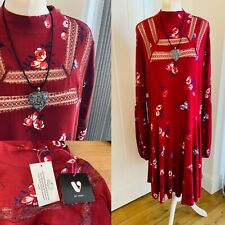 V By Very Dark Red Mix Floral Smock Dress With Lace Inserts BNWT SZ 24 Peasant