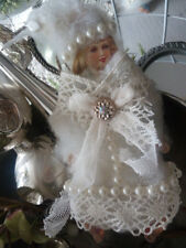 wunderbare brocante vintage wattefigur wintermädchen anhänger baumschmuck hänger