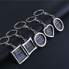 5Pcs Mixed Custom Alloy Metal Photo Frame Silver Key Chain Keyrings Decoration