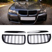 Kidney Dual Slat Grill Grilles For BMW 3 Series E90 E91 Sedan 4Door  Gloos Black