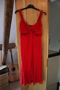 Debenhams Designer Ladies Red Silk Blend Evening / Occasion Dress size 10