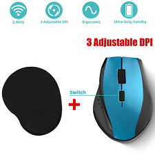 USB Wireless Mouse Optical PC Mice Laptop Computer Receiver Gaming DPI/MousePad