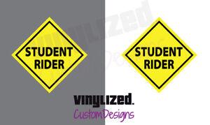"2 Pack 3.5"" Student Rider Helmet Vinyl Decal Safety School Sticker Motorcycle"
