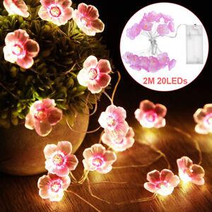 Kirschblüten Blumen LED Lichterkette Kupferdraht Beleuchtung Garten Party Außen