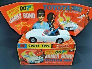 "Vintage CORGI TOYS #336 ""JAMES BOND TOYOTA 2000GT"" ORIGINAL BOX"