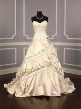 AUTHENTIC Amalia Carrara 290 Antique Ivory Satin Couture Bridal Gown 10 NEW