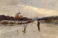 Free shipping Oil painting young soldier in winter snow landscape on canvas