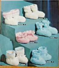 OLD VINTAGE CROCHET PATTERN FOR 6 SETS OF OF BEAUTIFUL BABY BOOTEES IN 3-PLY