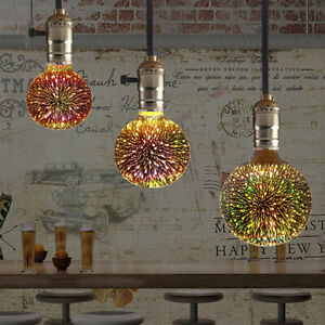 Glass Light Alluminum Colourful Fireworks Edison Bulb 3D LED Vintage E27 Plated