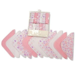 Baby Girl Pink White Wash Cloths Towel Flannel Wipes Bath Shower 12 Pack