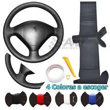 Funda de volante a medida para Peugeot 307 308 en cuero negro liso + perforado