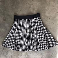 Manoush Black White Polkadot Thick Knit Knee Length Skirt Large