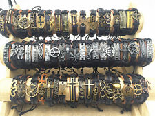 Wholesale 50pcs/pack Assorted Vintage Alloy leather Cuff Bracelets Jewelry