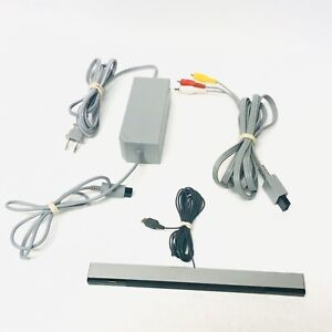 Official OEM Nintendo Wii Power Supply - Wired Sensor Bar - AV Cables- TESTED