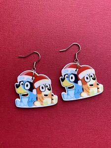 Bluey And Bingo Style Christmas Resin Dangle Earrings, Surgical Steel Hooks