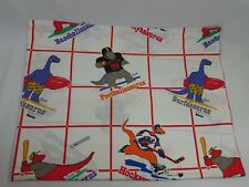 Saurus Vintage Flat Twin Bed Sheet 1987 Dinosaur Talking Tops Cartoon Material