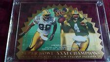 1996 Scoreboard SB XXXI Double-sided gold leaf card with GB (Brett Favre) and NE