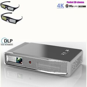 8500 Lumens Wifi Bluetooth 3D 4K HD Portable Home Projector HDMI +2x 3D Glasses