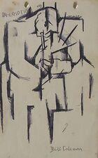 "BILL COLEMAN AUSTRALIAN SIGNED CUBIST INK ""THE TRUMPET PLAYER MUSICIAN"" C 1970"