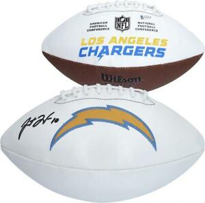 JUSTIN HERBERT Autographed Los Angeles Chargers White Panel Football FANATICS