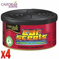 4 Pack of California Scents Concord Cranberry Car & Home Air Freshener Can Tin