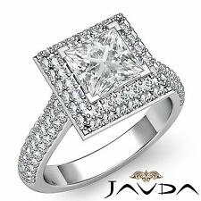 Princess Diamond GIA I Color VS2 Platinum 2 Row Halo Pave Engagement Ring 2.9ct