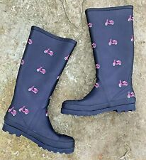J CREW Rain Boots 8 SCOOTERS Tall Navy Pink Mopeds Motor Bikes Rubber Wellies