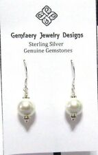 Sterling Silver South Seas White Shell Pearl Dangle Earrings #275...Handmade USA