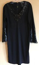 PAMELA DENNIS S Black Designer Sheath Dress Sequin V-Neck Cocktail Couture