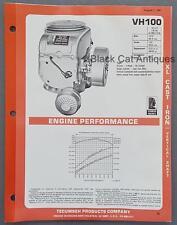 1981 Tecumseh XL Cast Iron Vertical Shaft Engine Specs Brochure Model VH100 10HP