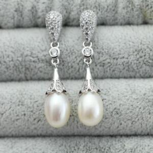 Natural Freshwater 9mm Pearl, Dangling Pearl Silver 925 Earrings 3 color choices