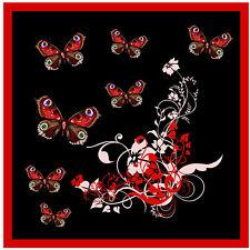 RED / BLACK BUTTERFLY & FLOWERS CAR / WINDOW STICKER + 1 FREE -  NEW - GIFT