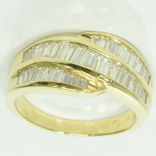 Ladies 18k Yellow Gold 1 Cttw Baguette Diamond Cluster Band Estate Ring