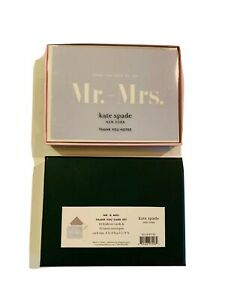 "KATE SPADE Thank You Cards, 2 boxes/Set Of 20 ""From the Desk Of The Mr. & Mrs."""