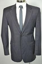 (40L) Ralph Lauren Men's Charcoal Gray Pinstripe Wool Pleated Front 2 Piece Suit