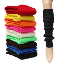 Black Women Winter Warm Crochet Knit High Knee Leg Warmers Leg Boot Socks Slouch