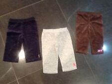 Juicy Couture & Bambine Velours Pantaloni X 3 Misura 6/12 MESI Con Logo