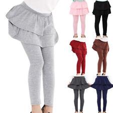 Kids Girls 2 In 1 Ruffle Skirt Leggings Trousers Pants Tiered Stretch Skeggings