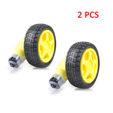 2pcs New Car Robot Smart Plastic Tire Wheel with DC 3-6V Gear Motor for Arduino