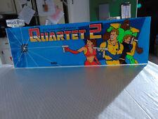 "Vintage 1986 Original QUARTET 2 by Sega/Sun Corp. 23 7/8 x 7 3/8"" Arcade Marquee"