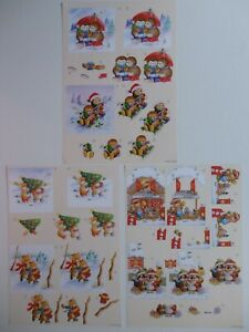 """Christmas Decoupage Sheet with 2 Designs """"Winter Friends"""" (Choice of 3)"""