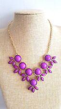 Purple Colour floral Bib Bubble Bohemian Gold Chain Summer Festival Necklace
