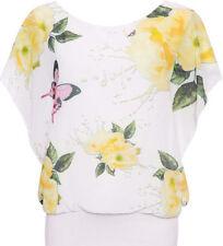 T-shirt, maglie e camicie da donna senza maniche gialli con girocollo
