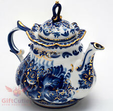 Porcelain Gzhel teapot coffee server gold plated handmade in Russia 650ml