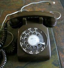 Vintage ITT Dark Brown Rotary Dial Telephone w/ Cords  Very Nice Shape