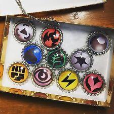 Pokémon Go Elemental Energy Necklace Set Of 10 Interchangeable Pendants W/Cord